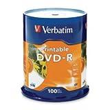 Verbatim(R) Inkjet Printable DVD-R Spindle, White, Pack of 100