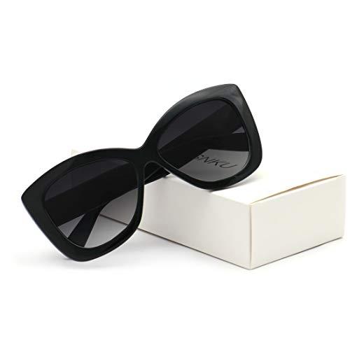 Fashion Square Large Frame Sunglasses Men and Women Eyewear UV400 Black Driving (T5 - Black, ()