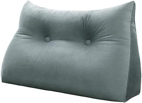 VERCART cojín de lectura almohada confortable bodega cuello triangular cama sofá desenfundable 60 cm, terciopelo gris, velur, gris, 80 cm