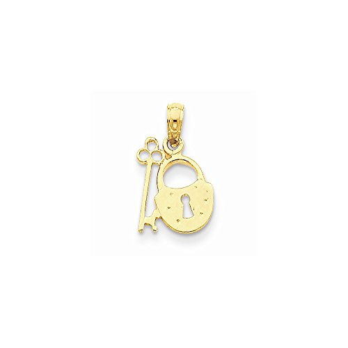 14k Padlock And Key Pendant, Best Quality Free Gift Box