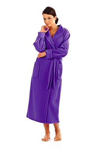 Caliente Bata para Mujer con Collar Bolsillos y Correa Púrpura oscuro