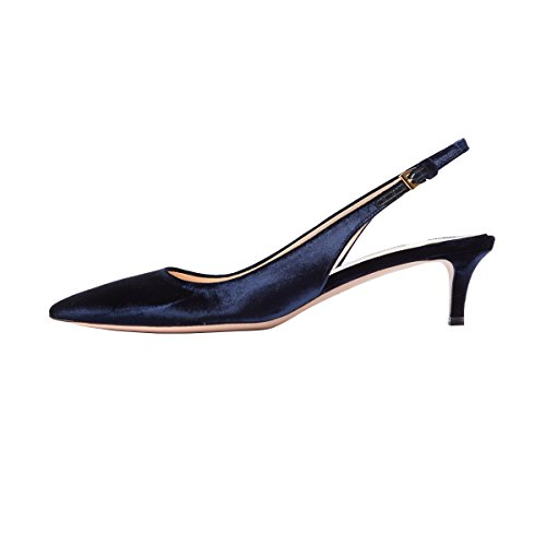 FSJ Women Classy Slingback Pumps Velvet Kitten Mid Heels Pointy Toe Comfort Dress Shoes Size 4-15 US Navy Blue low price fee shipping cheap price store outlet footlocker finishline zpegYHa1