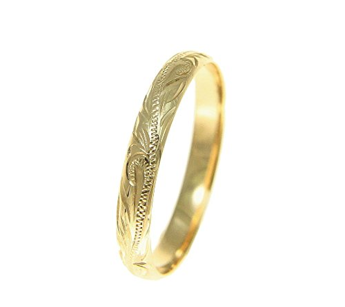 14K solid yellow gold hand engraved Hawaiian scroll band ring 3mm size 10.5