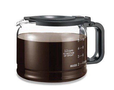 One-All Replacement Carafe Universal Works With Pause 'N Serve Models Black Handle & Lid 10/12 Cup C - Medelco 12 Cup Glass