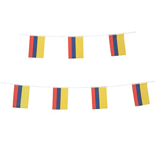 TSMD 100 Feet Colombia Colombian Flag,76Pcs National Country World Flags Banner String,Party Decoration For Olympics,Bar,World Cup,Sports Event,Copa America,International Festival Events for $<!--$11.99-->