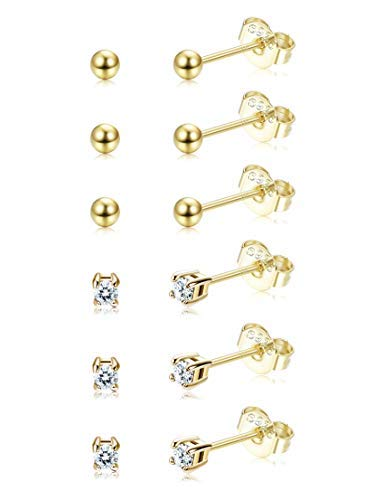 - Sllaiss 6 Pairs Sterling Silver Tiny Ball Stud Earrings for Women Girls Round CZ Earrings Set Gold