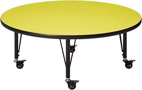 Flash Furniture Mobile 42'' Round Yellow HP Laminate Activity Table - Height Adjustable Short Legs