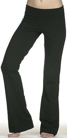 Ladies Lowrise Cotton Lycra Foldover Yoga Pants, Medium Black