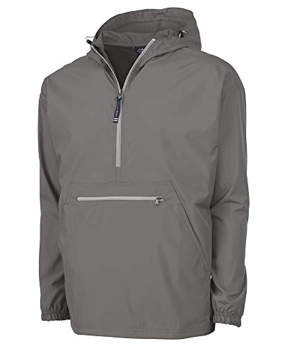 - Charles River Apparel Pack-N-Go Wind & Water-Resistant Pullover (Reg/Ext Sizes), Grey, S
