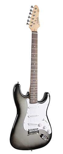 Full Size Silver Burst Electric Guitar with Amp, Case and Accessories Pack Beginner Starter Package - Image 1
