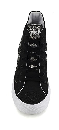 CAFE' NOIR SNEAKER DONNA IN TELA NERO CON STELLE IN STRASS P/E 2017 COD. DF913