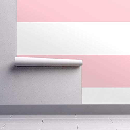 (Peel-and-Stick Removable Wallpaper - Striped Horizontal Stripes Pink White Nursery Striped Stripes by Misstiina - 12in x 24in Woven Textured Peel-and-Stick Removable Wallpaper Test Swatch)
