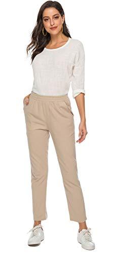 Soojun Womens Cotton Linen Loose Fit Elastic Waist Harm Pant, Khaki, Medium Average