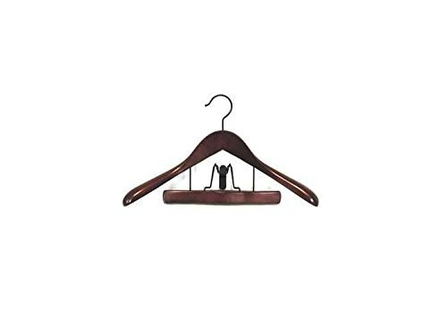Proman TRF8839 Taurus Suit Hanger with Trouser Clamp Mahogany - 12 hangers by Proman
