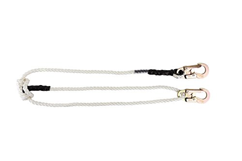 Rope Lanyard Polyester - Pelican Rope Adjustable Rope Lanyard (4 feet - 7 feet) - 3-Strand Twisted Polyester Rope (1/2 inch), Hand-Spliced Eyes, Low Stretch, Chemical/Abrasion Resistant - for Fall Protection, Arborist Work