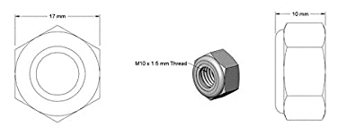 Bolt Base 10mm A2 Stainless Steel Nylon Insert Nyloc Nylock Lock Nuts M10 X 1.50mm Pitch 5
