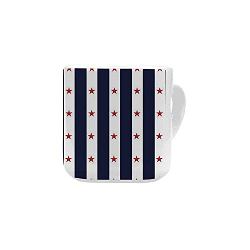 - USA White Heart Shaped Mug,Happy Fourth of July Famous Day of States with Vertical White Stripes and Stars Decorative for Home,2.56