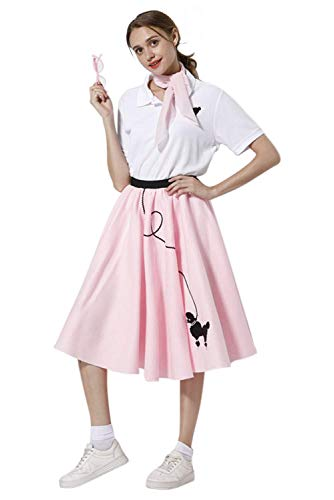 Newcos Adult 4 Piece Poodle Skirt 1950s Girls Costume Accessory Set - Poodle Skirt, Scarf, Glasses, - Skirt Size Skirt Poodle Plus