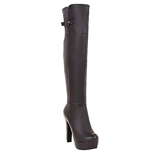 Mee Shoes Women's Warm Zip High Heel Platform Knee Boots Brown