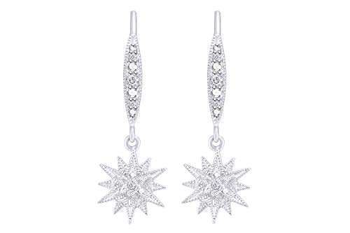 - Aria Jewels Diamond Accent Starburst Drop Dangle Earrings in 14K White Gold Over Sterling Silver for Women (1/20cttw)