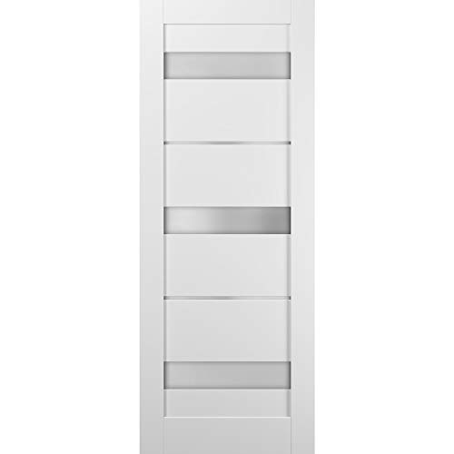 Lite Slab Barn Door Panel 36 x 80 | Quadro 4055 White Silk with Frosted Opaque Glass | Sturdy Finished Wooden Modern…
