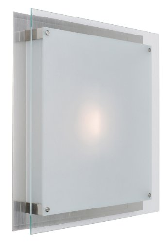 Access Lighting 50032-BS Vision 2-Light Wall/Flush Mount Fixture, Brushed Steel with Frosted Glass