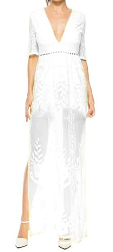 Hot Ladies Summer Cut Deep Neck White Lace Out Sexy Dresses Beach V Slit Cromoncent aYdwqCSS