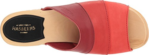 Swedish Hasbeens Sandal Women's Nubuck Color Combo Heeled Mona Red a4aSwrq