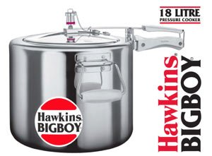 Hawkins Bigboy Aluminum 18 Litre Pressure Cooker with Separators and Grid to Cook Different Foods At the Same Time by Hawkins
