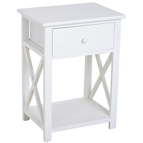 HOMCOM X Frame Design Wood End Table/Nightstand with Storage Drawer (White)