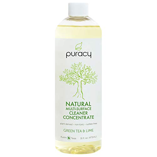 - Puracy Natural All Purpose Cleaner Concentrate (Makes 1 Gallon), Streak-Free, Green Tea & Lime, 16 Ounce