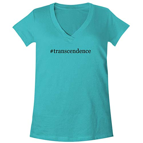 The Town Butler #Transcendence - A Soft & Comfortable Women's V-Neck T-Shirt, Aqua, Large