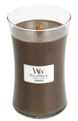 Woodwick Line Basic Large Candela Oudwood, Cera, Marrone, 10x10x18 cm, 4 unità 93247EU