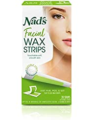 Nad's Facial Wax Strips - Hypoallergenic All Skin Types - Facial Hair Removal For Women - At Home Waxing Kit with 20 Face Wax Strips + 4 Calming Oil Wipes