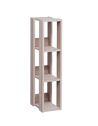 IRIS Mado 3-Shelf Slim Open Wood Shelving Unit, Light Brown (Metal Shelves Narrow Tall)