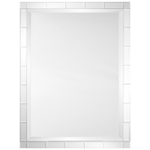 (Kathy Kuo Home Scott Modern Classic Beveled Tiled Frame Rectangular Mirror)