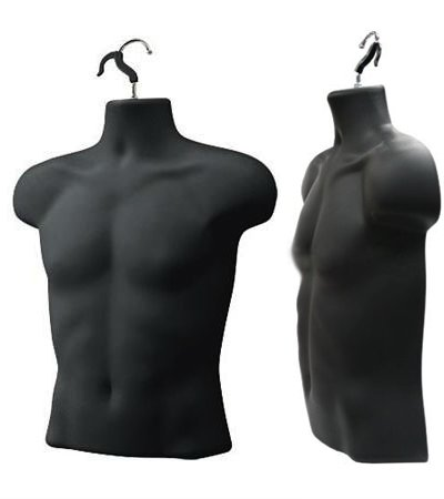 Upper Male Torso Form, Black