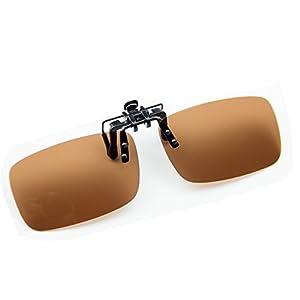 Cyxus Polarized Lenses Classic Sunglasses Clip-On Prescription Glasses [Anti-glare] [UV Protection] Driving/Fishing Outdoor Eyewear, Men & Women (Brown)