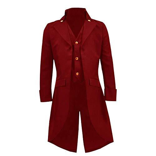 Boys Gothic Tailcoat Jacket Steampunk Long Coat Halloween Costume (Red, 5)
