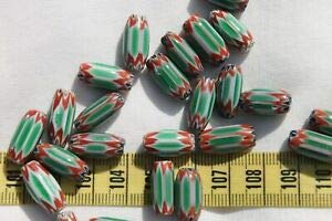 18x8mm 6 Layer Green & Red Chevron Glass Barrel Beads /25 beads/RS109 Spacer Beads and Roll Crystal String for Bracelets Jewelry Making