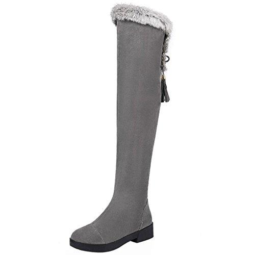 COOLCEPT Damen Flach Warm Synthetic Fell Lining Plateau Stiefel Reißverschluss Reißverschluss Grau