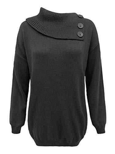 21fashion Femme Manches Taille Longues Unique Pull Noir rwgprS1q