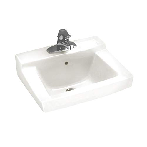 (American Standard 0321.075.020 Declyn Vitreous China Wall-Mount Lavatory Sink with Concealed Arm Support and Faucet Holes on 4-Inch Centers, White)