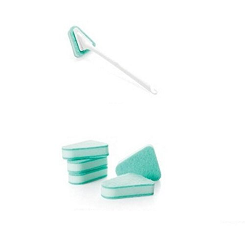 - Firefly-Mua Long Handle Multifunctional Triangular Sponge Toilet Brush + 5Pcs Replacement Brush Head(Green)