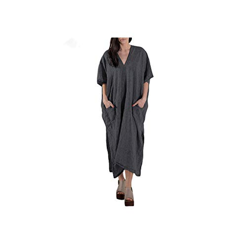 Women Dress Summer Batwing Sleeve Casual Loose Long Maxi Beach Dresses Sexy V Neck Backless,Gray,5XL