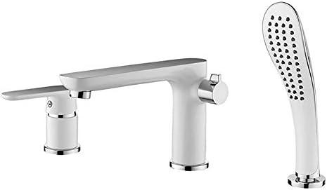 浴槽の蛇口真鍮の浴室の浴槽の蛇口シングルハンドル3穴シャワーの蛇口節水装置付きデッキマウント浴槽タップハンドヘルドシャワーとホース,クロム