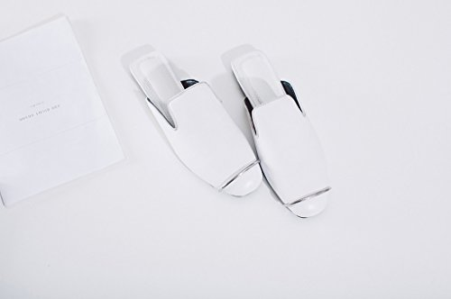 Calaier Women Cabetter Closed-Toe 1CM Flat Slip-on Mules Sandals Shoes White xd0rZBBgX