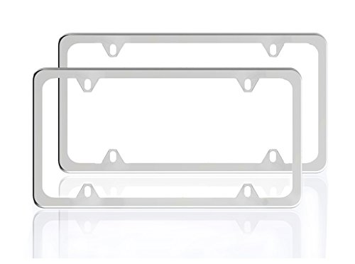 ZATAYE Stainless Steel License Plate Frame for Car Tag Frame 4 Holes with Silver Surface 2 Pack by, Not to Block Registration Tags(PEEL THE FILE PLEASE)