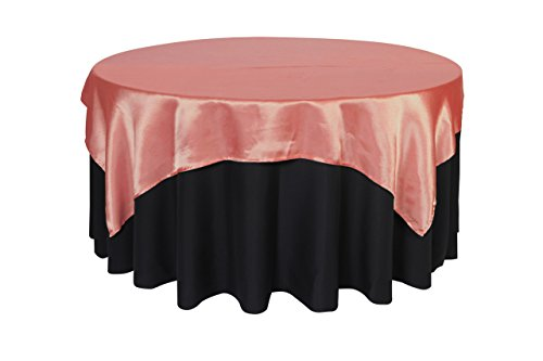 Your Chair Covers - 72 inch Square Satin Table Overlay Coral, Square Satin Table Cloths