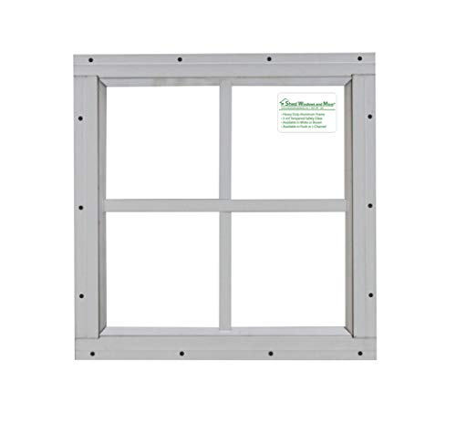 "Shed Windows 12"" x 12"" White Flush Mount Safety Glass"